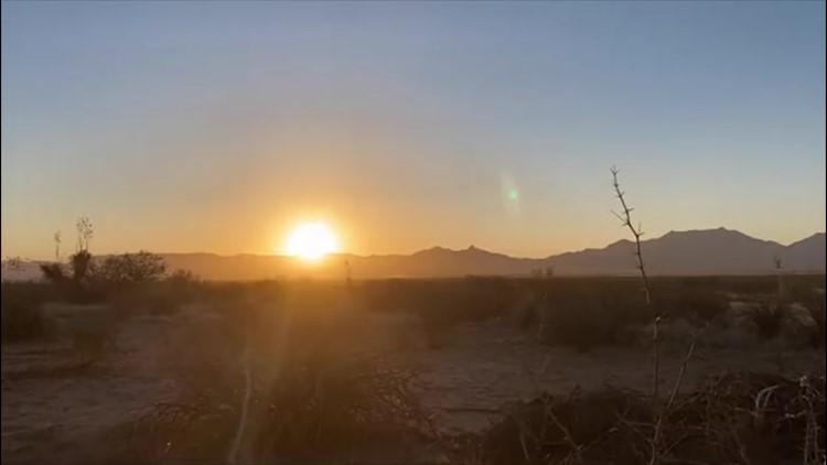 Spring sun rises over a New Mexico desert
