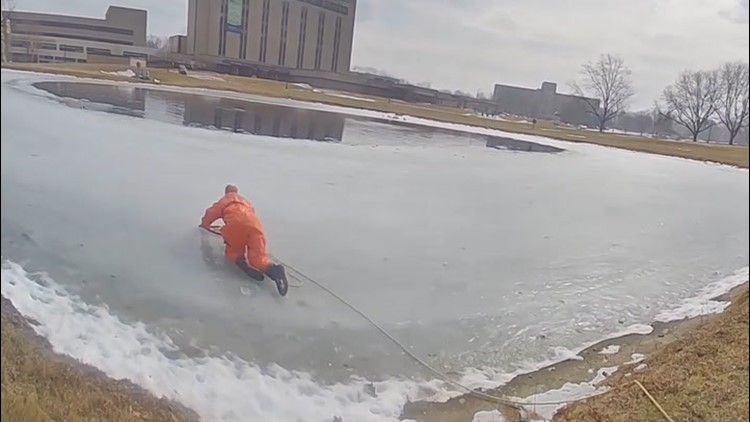Ohio fire crew rescues a dog from an icy pond