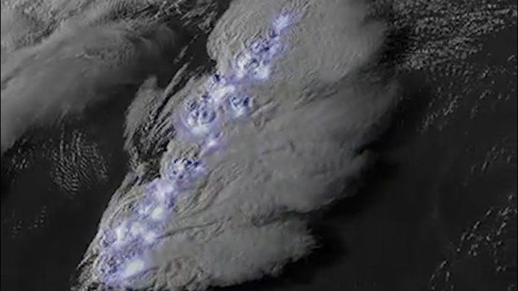 Satellite footage shows off massive lightning storm
