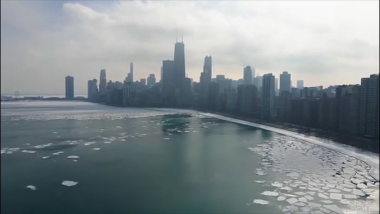 See an icy Chicago from the air