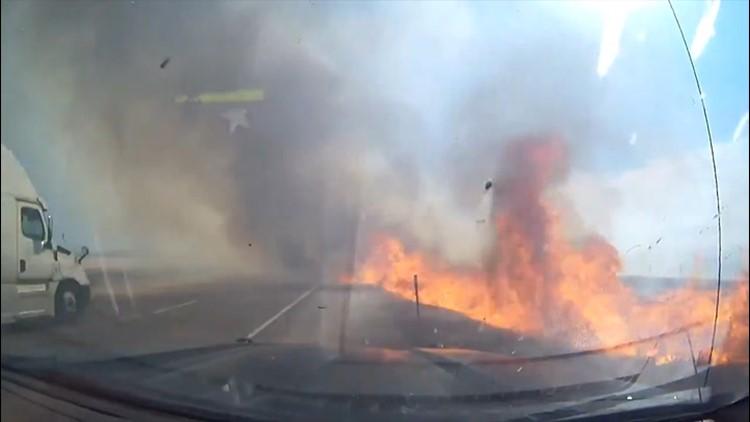 Roadside blaze breaks out