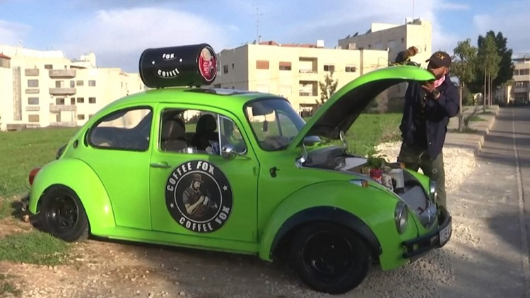 Coffee To Go! Man Equips His Classic Beetle To Serve Coffee To Jordanian Citizens!