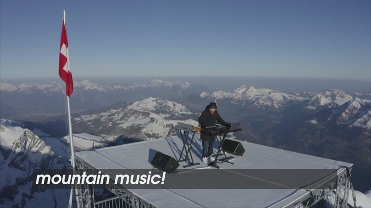 Mountain Music! French DJ Performs on a Mountain Top In the Swiss Alps!