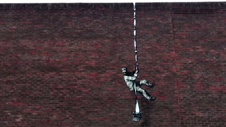 Prison Break Banksy! New Work Spotted on the Side of a Prison Wall!