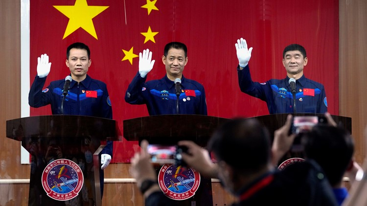 Watch: China launches first three-man crew to new space station