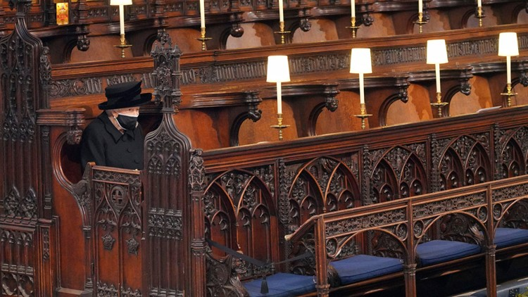 Queen sat alone in chapel at Philip's funeral