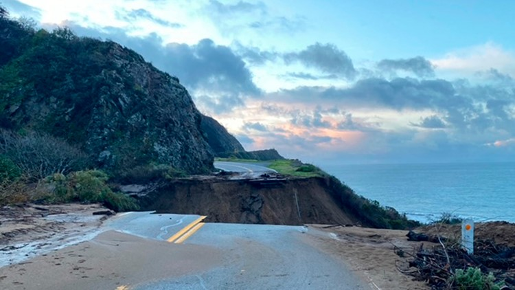 Massive piece of California's iconic Highway 1 collapsed into ocean after storm