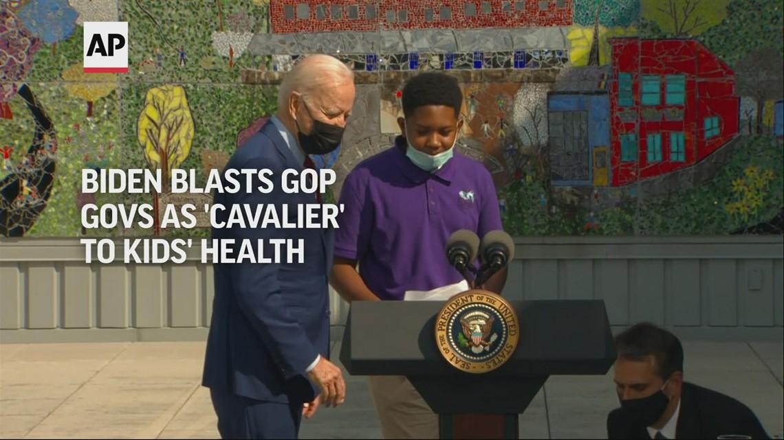 Biden blasts GOP governors as 'cavalier' to kids' health
