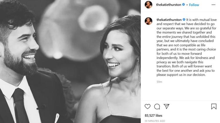 'Not compatible as life partners' | 'Bachelorette' Katie Thurston announces split from fiancé Blake Moynes