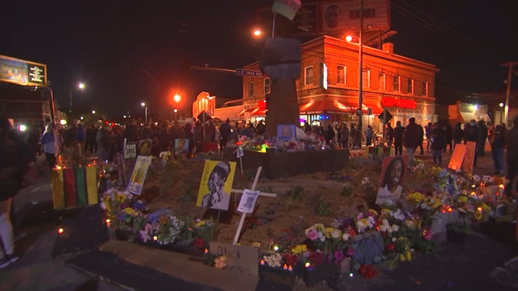 Crowds gathered across Minneapolis following Chauvin verdict