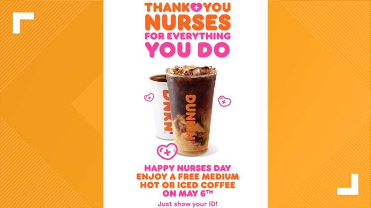 Dunkin' offering free coffee to healthcare workers on May 6