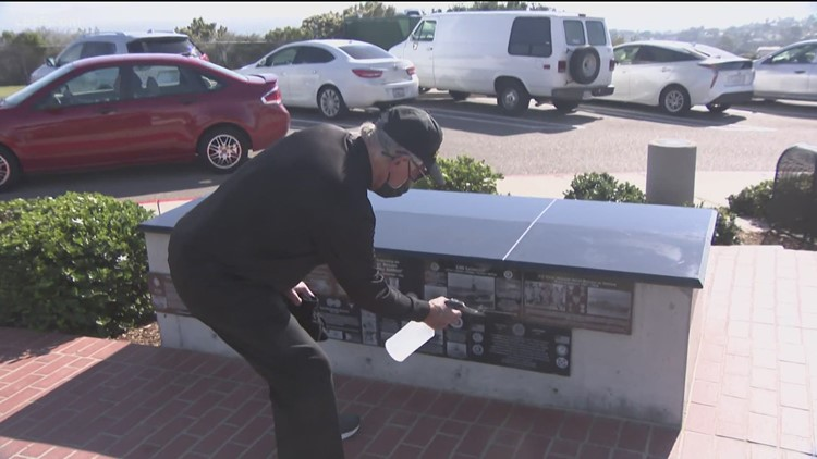 Navy veteran washes every wall and plaque at veterans memorial, 6 days a week
