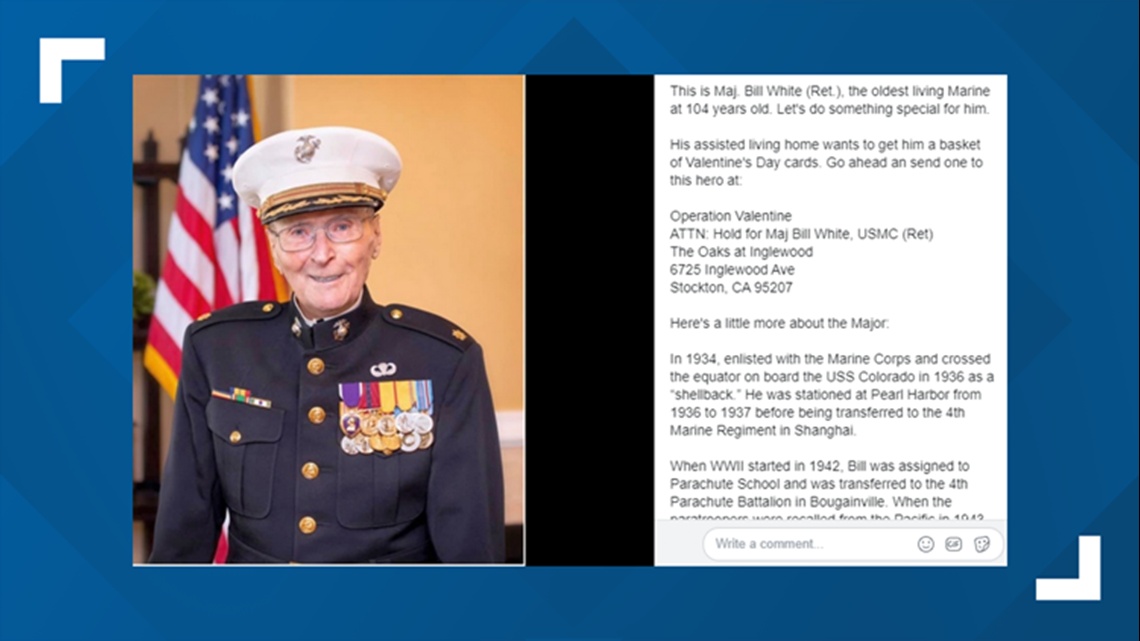Valentines For A Veteran 104 Year Old Marine Collecting Cards 5newsonline Com