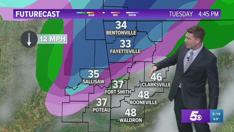 Cold air returns for Tuesday with a rain/snow mix