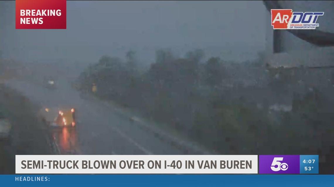 Semi-truck blown over on I-40 in Van Buren