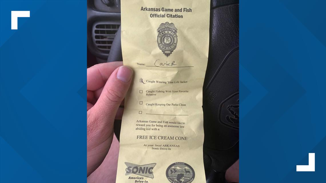 "Arkansas Game and Fish issuing ice cream ""citations"" to kids caught being good"