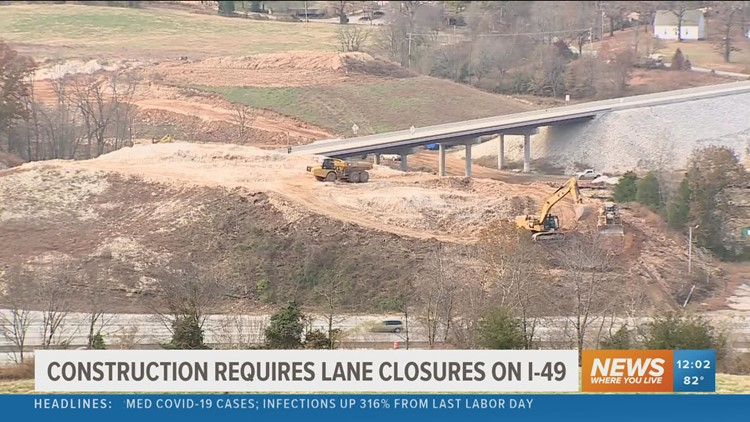 Rock blasting to cause some lane closures on I-49 and Hwy 71 interchange