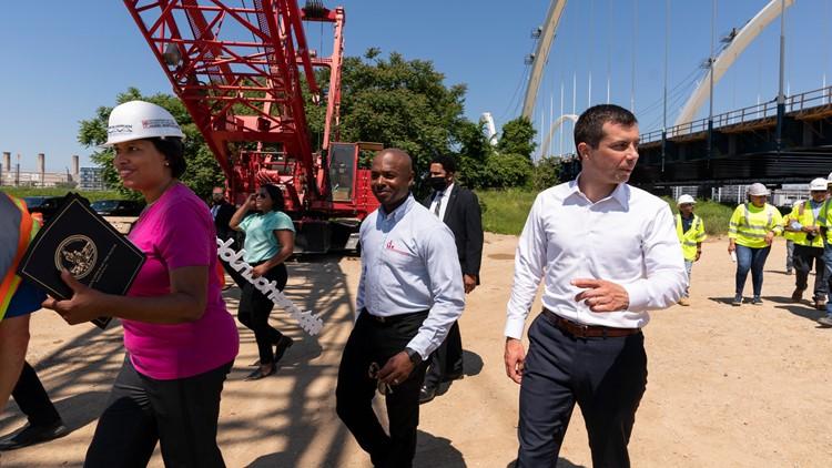 U.S. Transportation Secretary Pete Buttigieg tours damaged I-40 bridge
