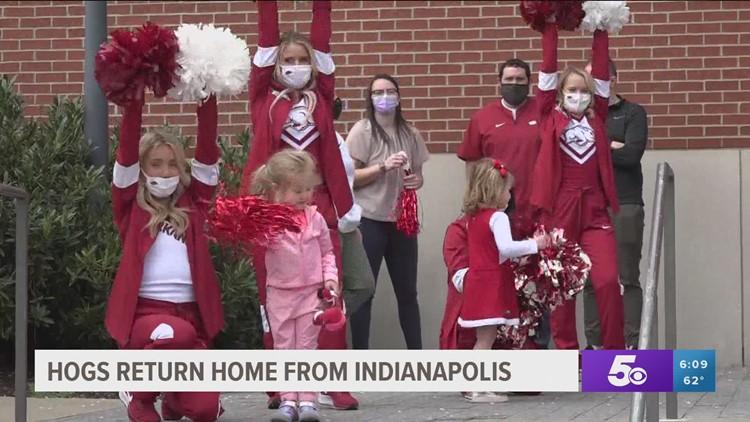 Hogs return home to Fayetteville following NCAA tournament run