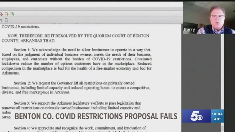 Watch: Benton Co. Quorum Court rejects resolution to lift COVID-19 restrictions on businesses