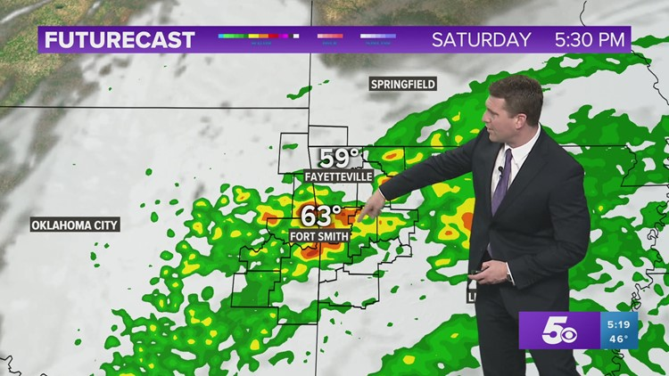 Fog tonight with scattered storms on Saturday evening