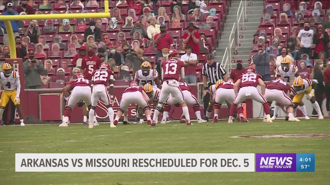 Arkansas vs. Missouri football game rescheduled for Dec. 5, game against Alabama pushed back