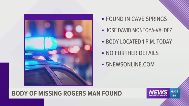 Body of missing Rogers man located in Cave Springs