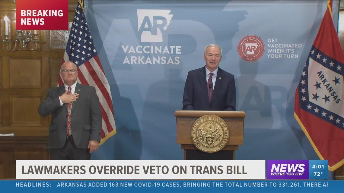 Arkansas lawmakers override veto on transgender bill