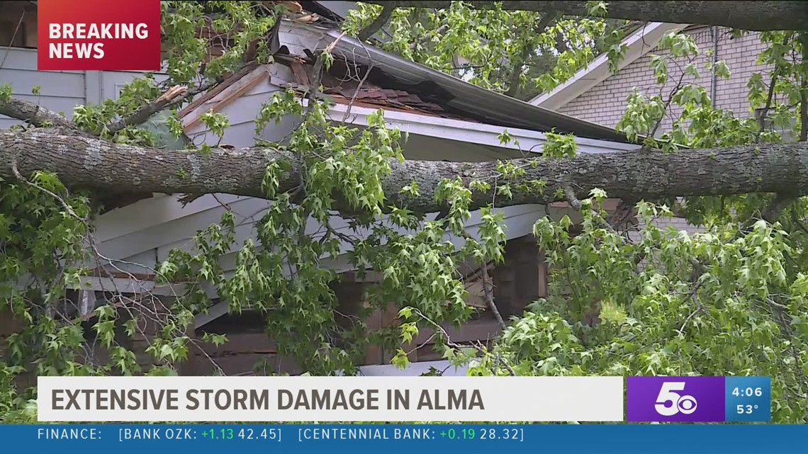 Extensive storm damage in Alma