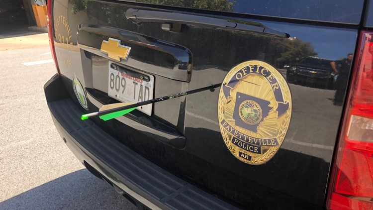 Police: Arrest made after crossbow arrow fired into Fayetteville police cruiser
