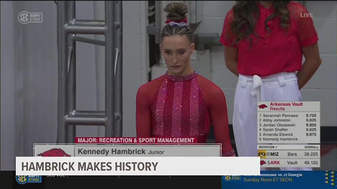 Kennedy Hambrick breaks Arkansas gymnastics all-around scoring record