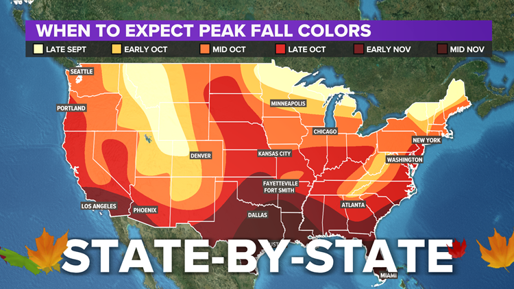 When is peak fall color across the USA | State-by-state