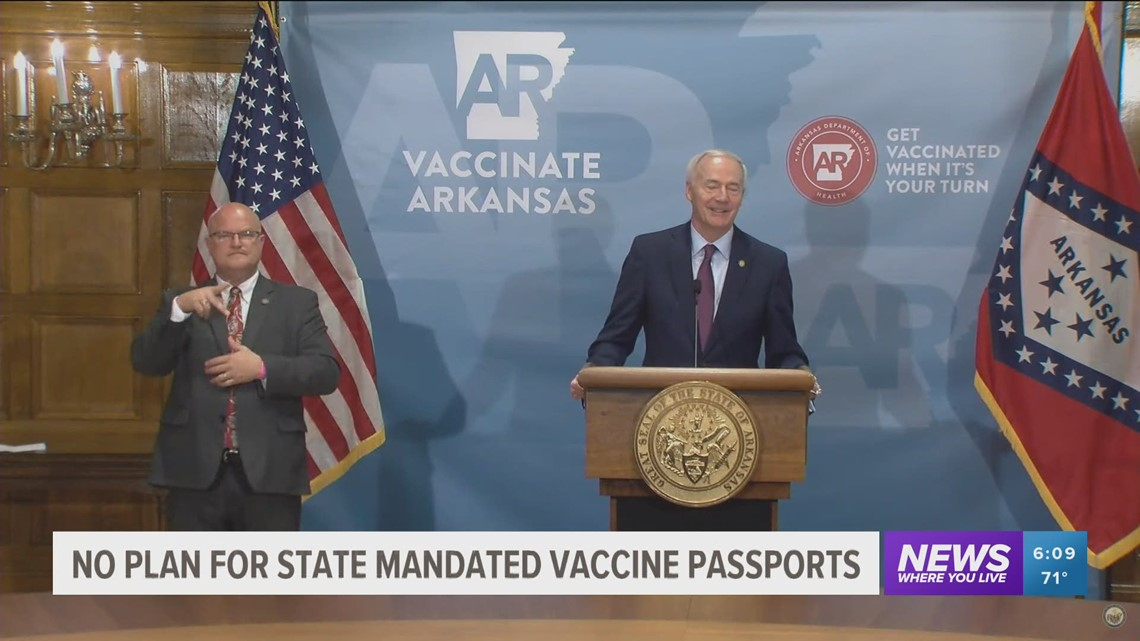 'Vaccine passport' in Arkansas? Governor says to leave it up to the private sector