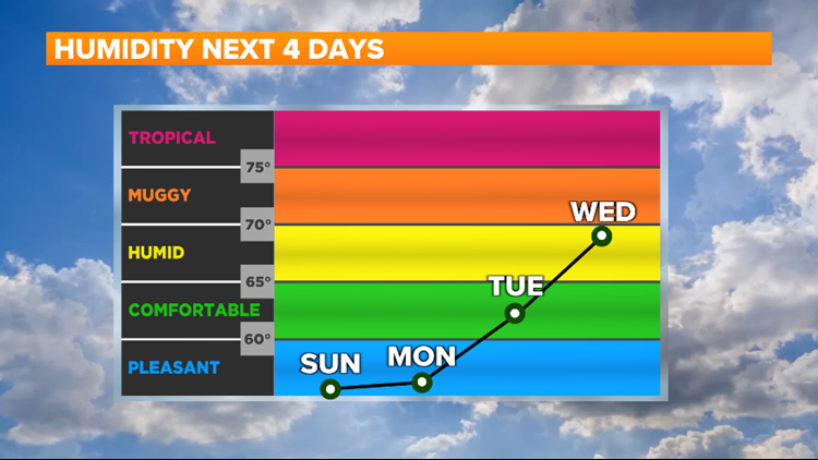 The humidity is coming back this week