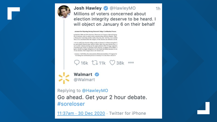 Walmart apologizes for tweet calling Missouri senator 'sore loser' for intentions to challenge election results