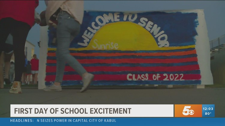 Har-Ber High School seniors celebrate the first day of school with new tradition