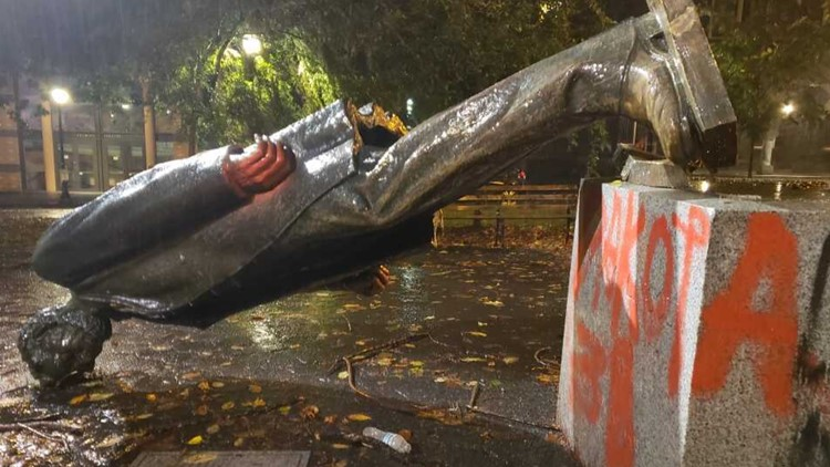 Police declare riot as protesters topple statues, break windows, throw flares into Oregon Historical Society
