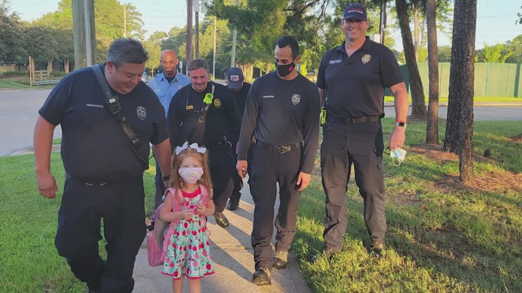 Daughter gets special escort to first day of kindergarten as dad fights COVID-19 in hospital