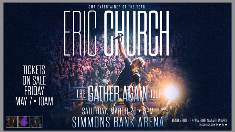Eric Church coming to Simmons Bank Arena March 2022