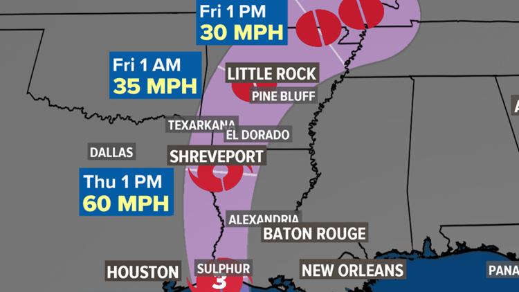 Tropical Storm Laura moving through Arkansas after making landfall