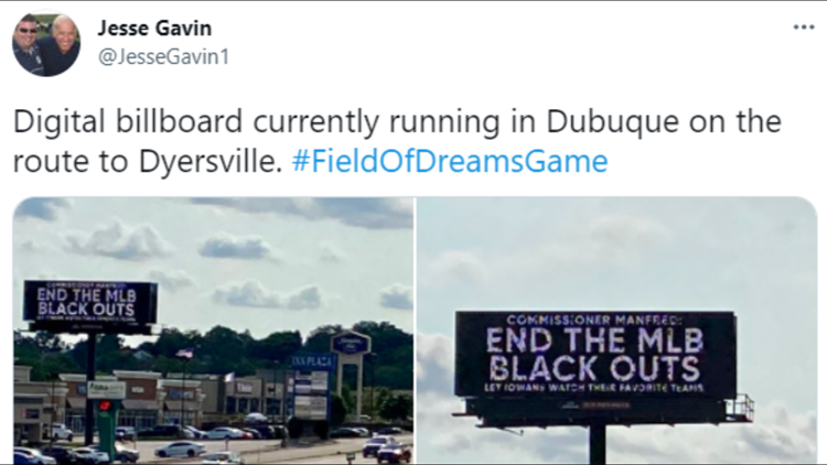 Billboard en route to 'Field of Dreams' game calls for end to Iowa MLB blackouts