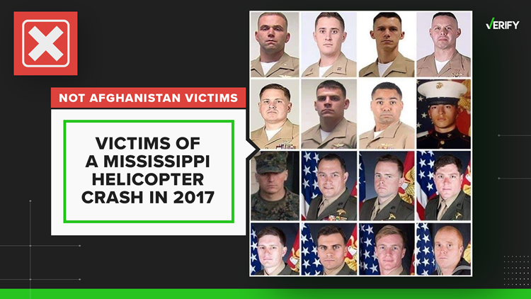 No, this graphic does not show the 13 service members killed in Afghanistan. It's actually from 2017