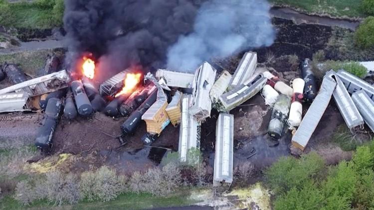 Train Carrying Hazardous, Explosive Materials Derails in Iowa