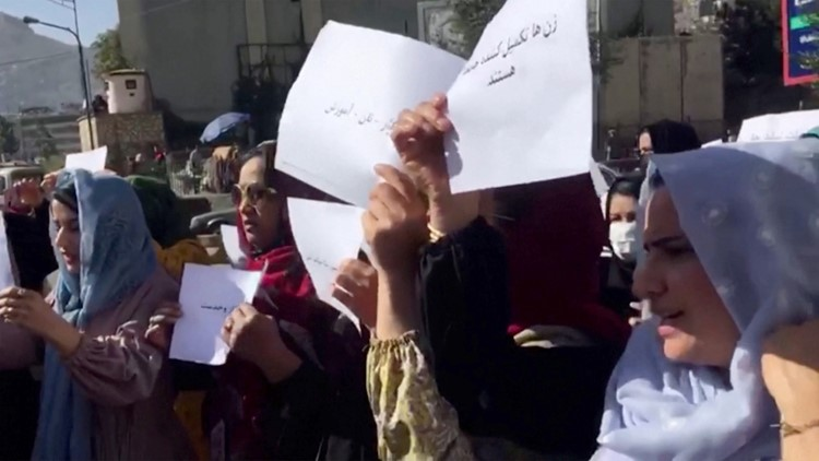Afghan Women Protest for Civil Rights in the Streets of Kabul
