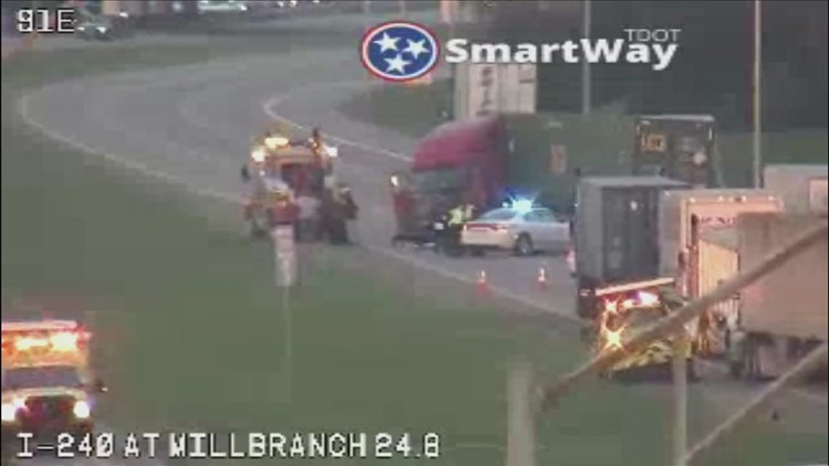 Tractor-trailer accident closes portion of I-240