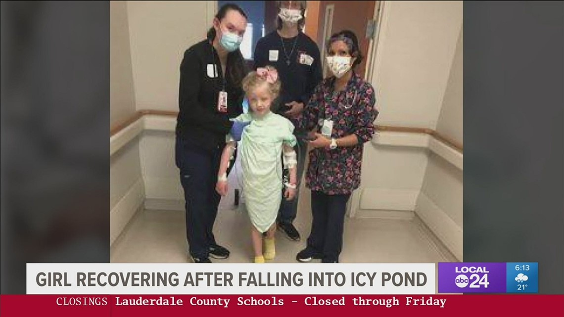 6-year-old girl is improving after falling into icy pond; 10-year-old brother died trying to save her