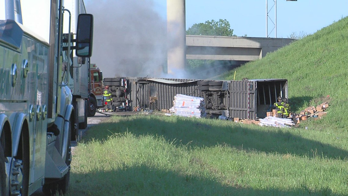 Tractor trailer fire on I-40 near Watkins closed interstate Thursday morning