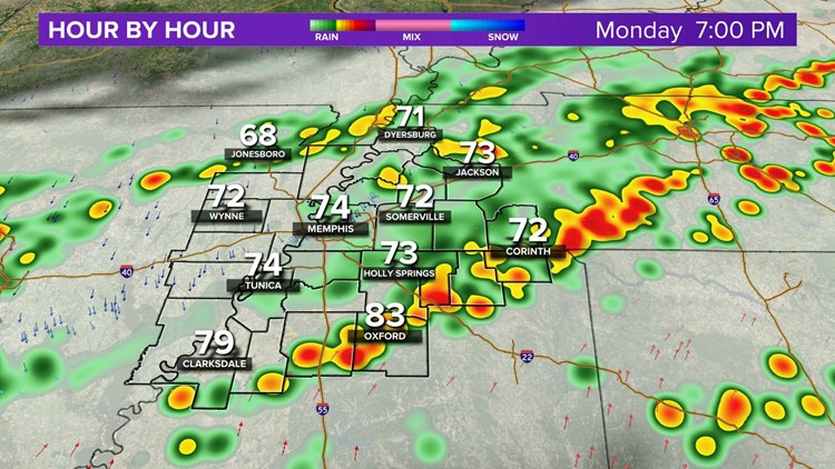 Scattered storms as a cold front pushes through