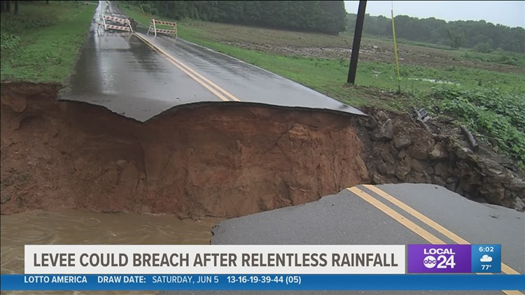 Residents asked to evacuate amid concerns about potential levee breach due to flooding in Oxford, MS