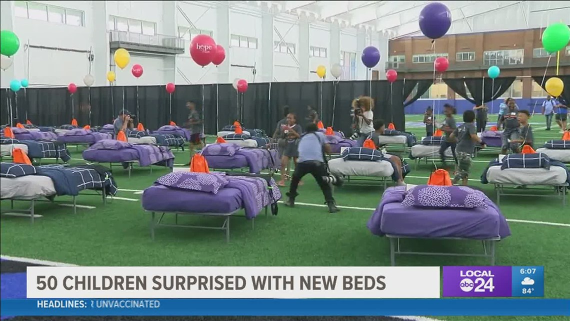 A place to lay their heads | Children surprised with new beds at mini-sports camp with the Memphis Tigers
